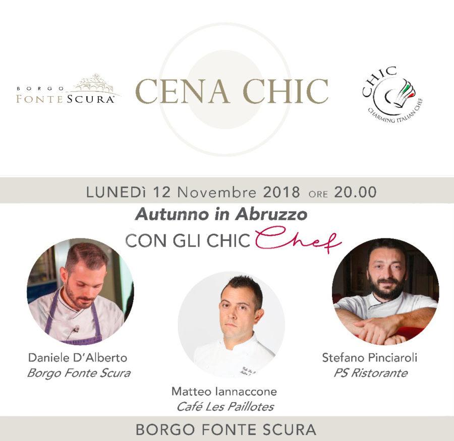 12 NOVEMBRE 2018 – CENA CHIC – ORE 20.00